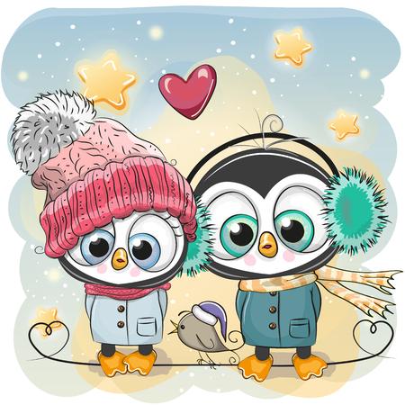 Śliczne zimowe ilustracji Chłopiec i dziewczynka pingwin w kapelusze i płaszcze.
