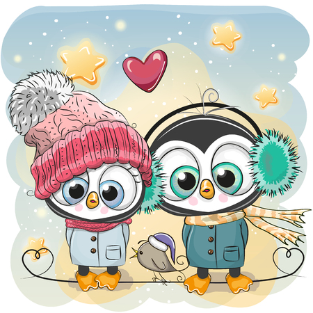 Cute winter illustration Penguin Boy and Girl in hats and coats.