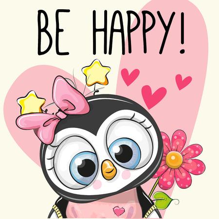 Be Happy 인사말 카드 하트와 꽃을 가진 펭귄입니다.