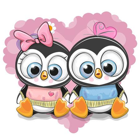 Two Cute Cartoon Penguins on a heart illustration. Çizim