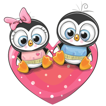 Two cute Penguins is sitting on a heart. 向量圖像