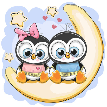 Two Cute Cartoon Penguins is sitting on the moon.