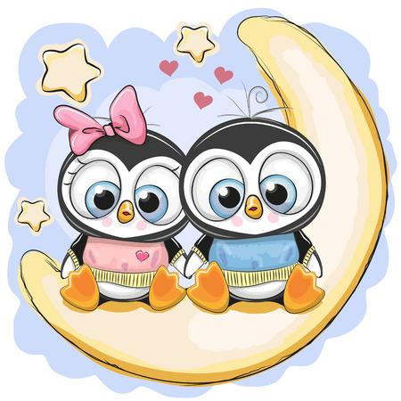 Zwei niedliche Cartoon-Pinguine sitzen auf dem Mond.