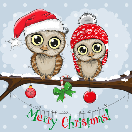Greeting Christmas card Two Owls on a branch Stock Vector - 91828408