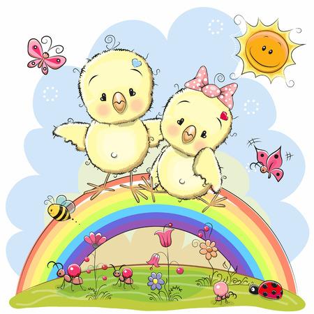 두 귀여운 만화 닭 무지개에 앉아있다.