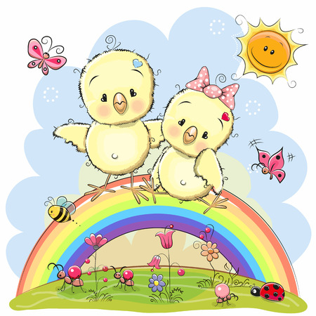 Two Cute Cartoon Chickens are sitting on the rainbow