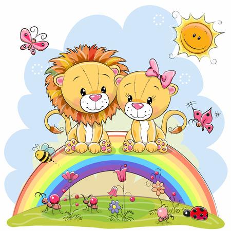Dois leões bonitos dos desenhos animados estão sentados no arco-íris Foto de archivo - 91828410
