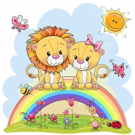 Two Cute Cartoon Lions are sitting on the rainbow Vectores