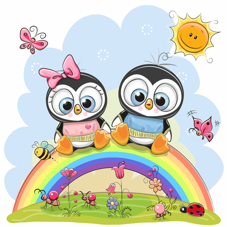 Two Cute Cartoon Chickens are sitting on the rainbow Banco de Imagens - 91828412