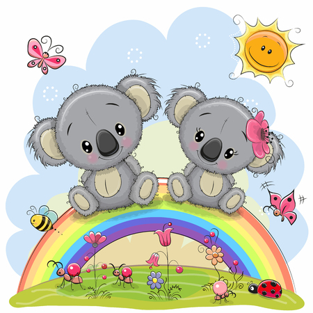 Two Cute Cartoon Koalas are sitting on the rainbow