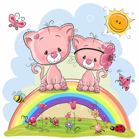 Two Cute Cartoon Pink Kittens are sitting on the rainbow Çizim
