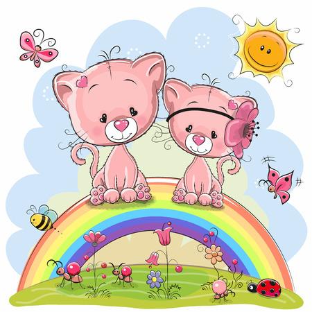Zwei niedliche Cartoon-Rosa-Kätzchen sitzen auf dem Regenbogen Standard-Bild - 91828415