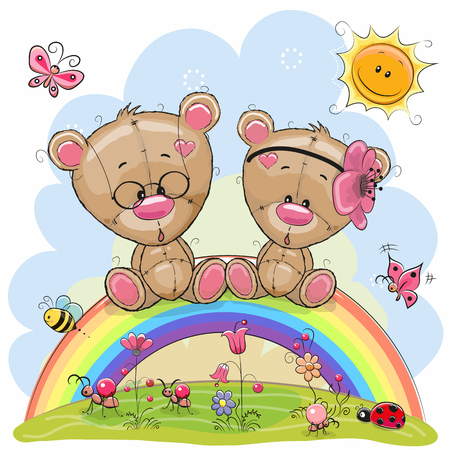 deux ours mignons de bande dessinée en peluche sont assis sur l & # 39 ; arc-en-ciel