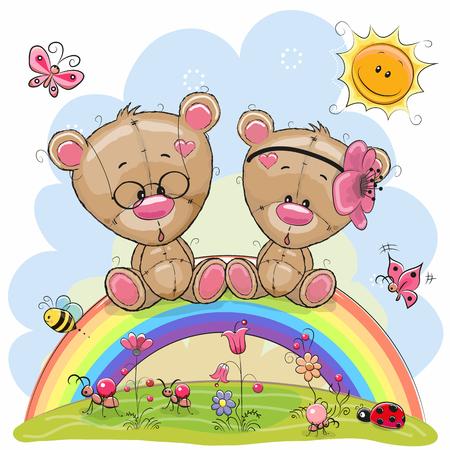 Twee schattige cartoon teddyberen zitten op de regenboog Stock Illustratie