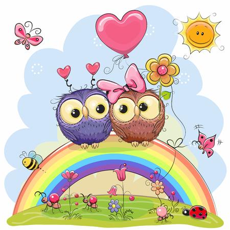 Two Cute Cartoon Owls are sitting on the rainbow Illustration