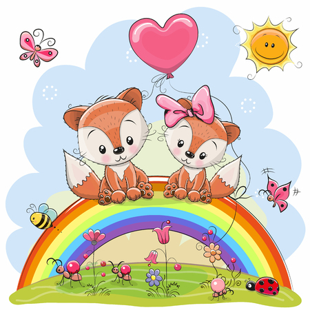 Two Cute Cartoon Foxes are sitting on the rainbow Vectores