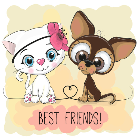 Cute Cartoon Cat and Dog on a yellow background