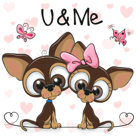 Two Cute Cartoon Dogs on a hearts background 일러스트