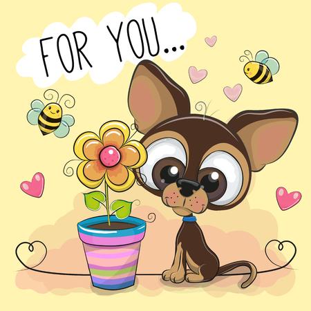Cartão bonito dos desenhos animados cachorro com flores sobre fundo laranja.
