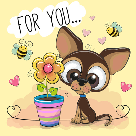 Greeting card cute cartoon Puppy with flower on orange background. Illustration