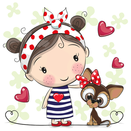 Cute Cartoon Puppy and a Girl in a striped dress