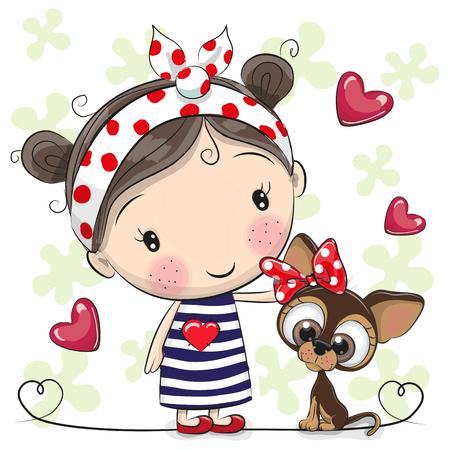 Lindo cachorro de dibujos animados y una niña en un vestido de rayas Foto de archivo - 93019004