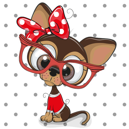 Cute Cartoon Puppy with red glasses on a dots background