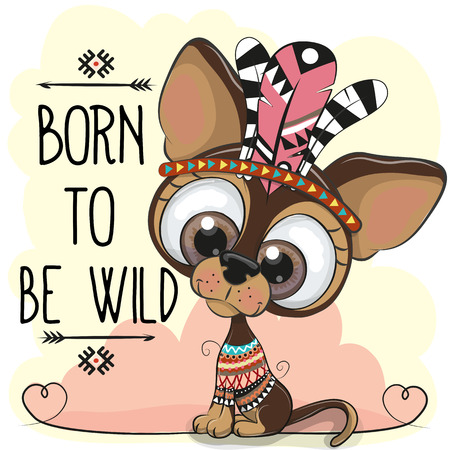 Cute Cartoon tribal dog with big eyes on a white background