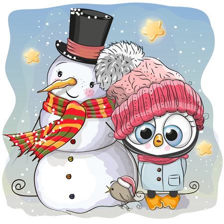 Snowman and Cute Cartoon Penguin girl in a hat