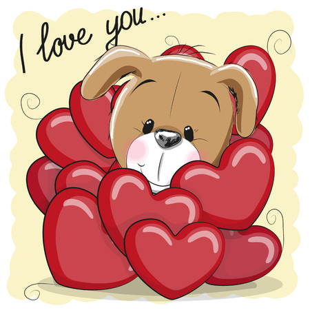 Valentine card with Cute Cartoon Puppy in hearts Ilustração