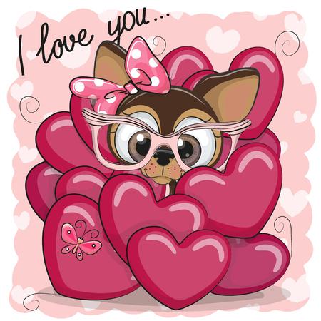 귀여운 만화 강아지와 함께 발렌타인 카드 마음에 소녀