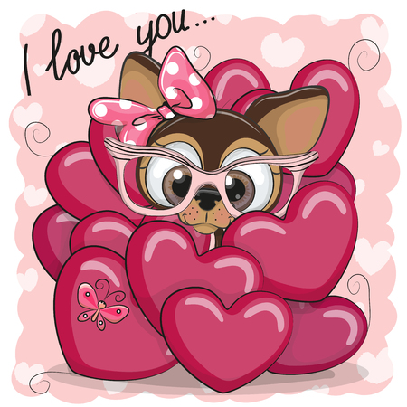 Valentine card with Cute Cartoon Puppy Girl in hearts