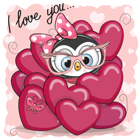 Valentine card with Cute Cartoon Penguin in hearts