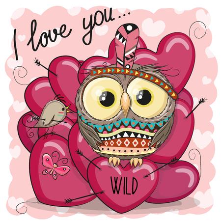 Cute Cartoon tribal uil met veer en harten