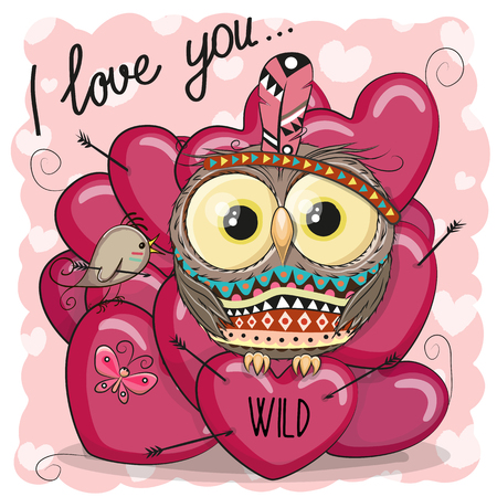 Cute Cartoon tribal owl with feather and hearts