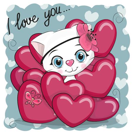 Valentine card with Cute Cartoon Kitten Girl in hearts Illustration