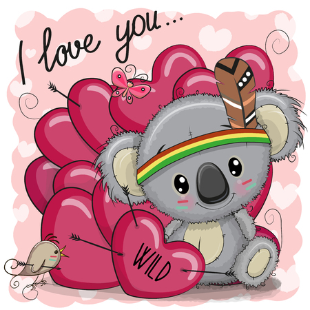 Cute Cartoon tribal Koala with feather and hearts