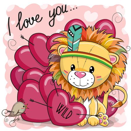 Cute Cartoon tribal Lion met veren en harten Stock Illustratie