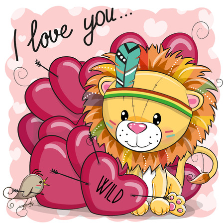 Cute Cartoon tribal Lion with feather and hearts Illustration