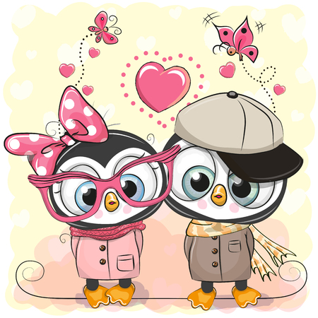 Two Cute Cartoon Penguins on a hearts background