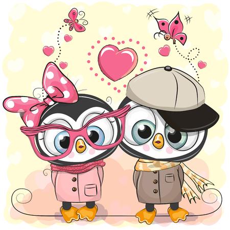 Twee Cute Cartoon Penguins op een hart achtergrond