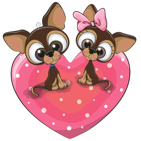 Two Cute Cartoon Dogs is sitting on a heart Çizim