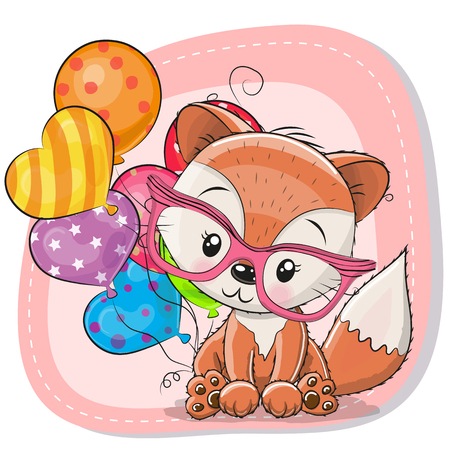 Greeting card Cute Cartoon Fox with balloon