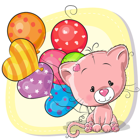 Greeting card Cute Cartoon Kitten with balloons.