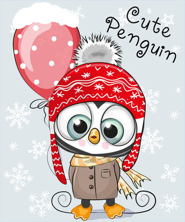 Słodki animowany pingwin w kapeluszu i płaszczu z balonem