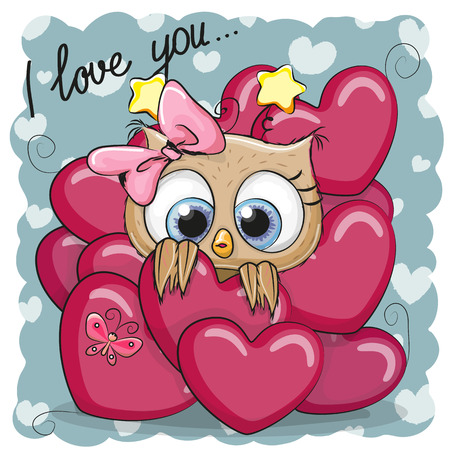 마음에 귀여운 만화 올빼미와 발렌타인 카드 일러스트