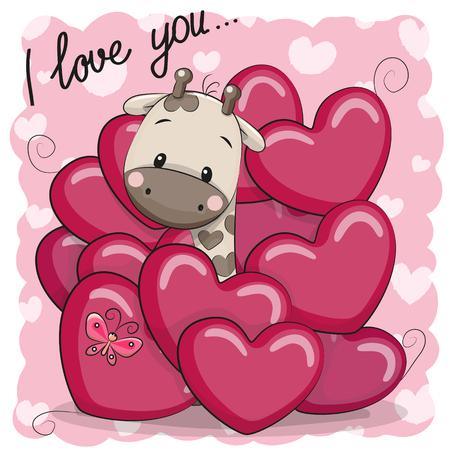 마음에 귀여운 만화 기린과 발렌타인 카드
