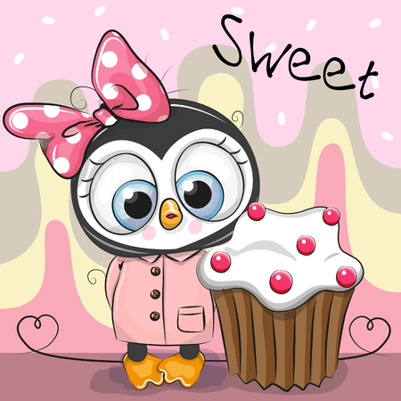ケーキとかわいい漫画ペンギンのグリーティングカード