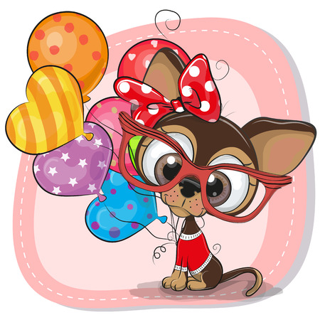 Greeting card Cute Cartoon Puppy with balloons