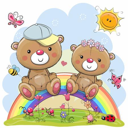 Two Cute Cartoon Teddy Bears are sitting on the rainbow